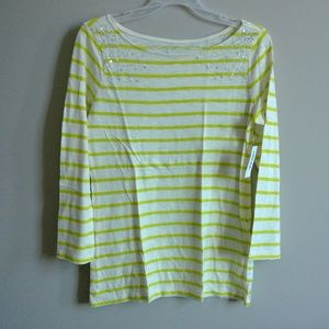 Old Navy Lime Green/Off White Striped Sequin Top